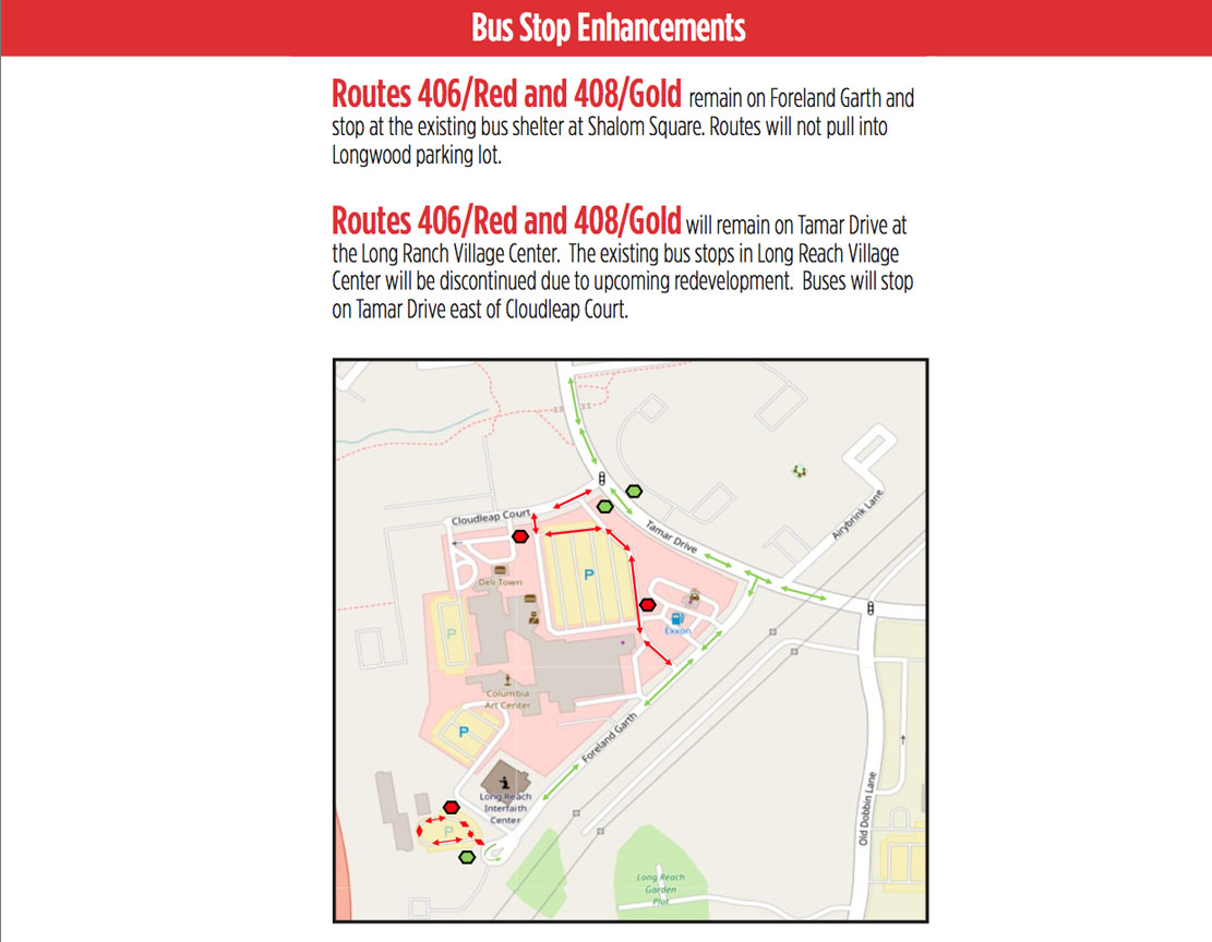 Bus Stop Enhancements – Routes 406/Red and 408/Gold